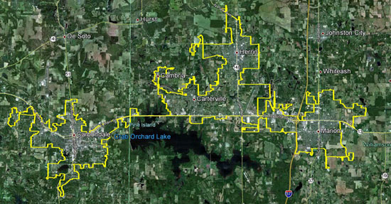 Carbondale Urbanized Area Map (SIMPO)